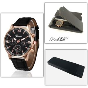 Mens Watches In Box Casual Wrist Watch Quartz S Steel Analogue Leather Gift UK