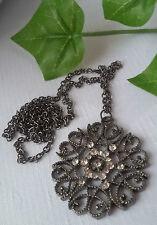 Halskette mit Amulett Anhänger Strass  metallgrau Vintage Retro Look Geschenk