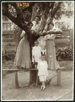 elegant women around tree, unusual,  Vintage Photograph, 1910'