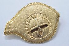 Navajo Indian Artist Johnny Johnson Kiwi Pin with Warrior Mask in Solid 14k Gold