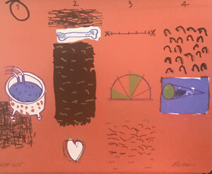 Peter PINSON OAM - 1234 Red - Signed Original Screenprint, Charming Abstract Art