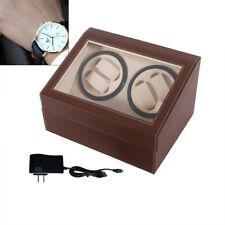 US NEW 4+6 Automatic Leather Wood Watch Winder Jewelry Storage display Box Brown