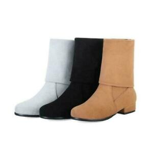 Women's Faux Suede Stretch Boots Pull On Mid Calf Boots Flat Low Heel Shoes