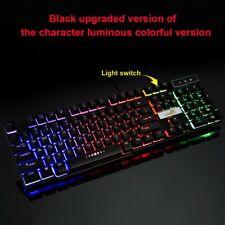 Backlit Gaming Keyboard Wired USB LED Illuminated Film Ergonomic PC Computer 28