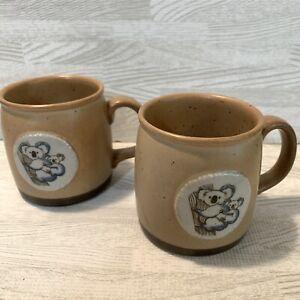Stoneware Koala Bear Mug 2 Pc Lot Mugs Coffee Cup Speckled Pottery Vintage Look