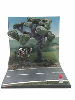 diorama route de campagne vache barrière borne km 150 x150 mm 1/43 livr gratuite