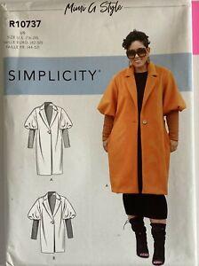 Simplicity 10737 Single Button Coat Jacket Pocket Ladies New Uncut Pattern PLUS