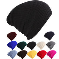 Women Men Hip-Hop Beanie Knit Hat Winter Warm Slouchy Stretch Skull Hats Ski Cap