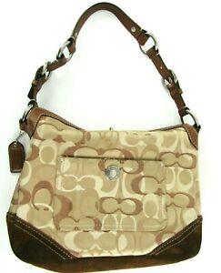 Brown Coach Chelsea Optic C's Leather Suede Turnlock D06K-10142 Shoulder Bag
