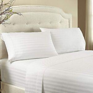 Luxury USA Bedding Item-All Size 100% Egyptian Cotton 1000 TC White Stripe
