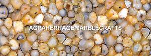Marble Kitchen Table Top Yellow Agate Semi Precious Stones Outdoor Decor H5608