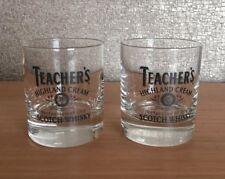Vintage TEACHERS Highland Cream Scotch Whisky Heavy Glass Tumbler x 2 PAIR
