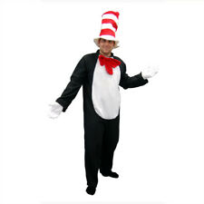 Adult Cat In the Hat Style Costume Bookweek Mens Plush Jumpsuit Red Striped Hat