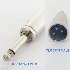 "50pcs XLR 3 Pin Male Plug to 1/4"" 6.35mm Mono Male Plug Audio Adapter Connector"