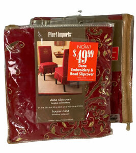 2 Pier 1 Imports Dana Slipcovers India Beaded Embroidery 24 in x 18.5 in x 32 in