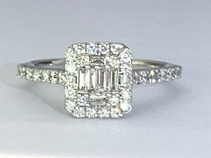 Emerald Cut Diamond Halo Cluster Engagement Ring White Gold G colour