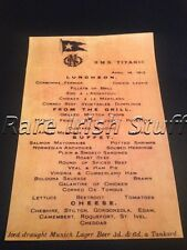 Titanic Final Lunch Food & Drink Menu - 14th April 1912 - White Star Line Print