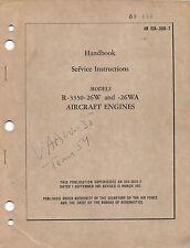 R-3350-26W,-26WA Radial Aircraft Engine Handbook Service Inst's Flight Manual-CD
