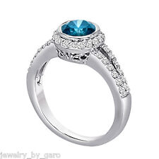 PLATINUM ENHANCED BLUE DIAMOND ENGAGEMENT RING 1.44 CARAT HANDMADE LOW BEZEL SET