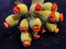Vintage Millinery Flower Bud Stamen Red Flocked Olive 12p for Hat or Hair Nj2