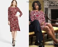 TORY BURCH Dress S Floral Red RIA Dress seen in Glee & on Michelle Obama S 4-6