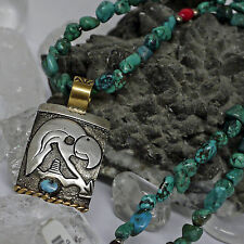 authentic Navajo USA Adler Amulett 925 Sterlingsilber an Spiderweb Türkis Kette
