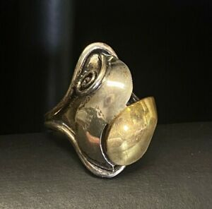 Navajo Designer Lee Charley Jr Sterling Silver Yellow Gold Ring