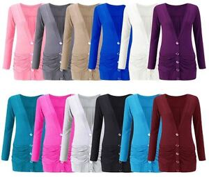WOMENS Ladies Ruched Button Boyfriend Cardigan Top With Pocket Plus Size 8-26