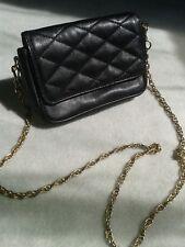PICARD Leder Handtasche Tasche Minitasche Stepp schwarz gold Kette Blogger
