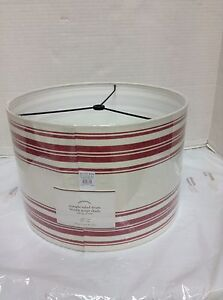 Pottery Barn PB Straight Sided Drum French Stripe Light Lamp Shade Red SMALL**