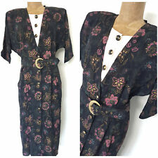 Vintage 80s Pencil Floral Dress Size Large Belted Midi Secretary Career Batwing