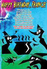 William Shakespeare PERSONALISED Happy Birthday THREE WITCHES Macbeth art Card
