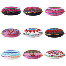 Indian Home Decorative Pillow Case Floor Embroidered Suzani Cushion Cover Round
