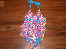 NWT JUSTICE GIRL SWIMSUIT 1 PIECE MULTI COLOR BLUE PINK RUFFLE SIZE 5