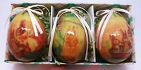 3 Easter Egg ORNAMENTS Bunnies VINTAGE In Box May's Dept Store 1995 Decoupage'
