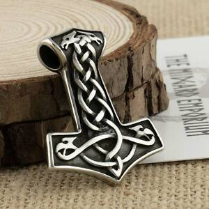 Viking Necklace Dragon Thors Hammer Pendant Stainless Steel Mens Jewellery
