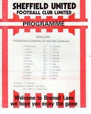 Sheffield United Football Reserve Fixture Programmes (1980s)