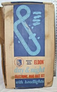 ELDON DAY & NIGHT 1/32 SLOT CAR SET 1960s WITH CARS BOXED