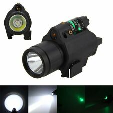 Tactical Combo LED Flashlight &Green/RED Laser Sight 20mm Picatinny Rail Mount