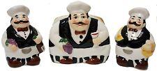 3pc Fat Chef Ceramic Hand Painted Napkin Holder & Salt / Pepper Shaker Set
