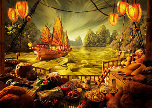 7x5ft Ancient Painting Asian Sailing Ship Goods Vinyl Backdrop Photo Background