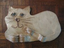 Signed Large Handcrafted Ceramic Cat Laying Figure with 3D Paws & Tail