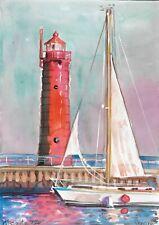 original drawing A4 577UV art by samovar watercolor landscape Signed 2020
