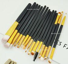 15pcs Everyday Makeup Brushes Set 4 Color for Eyeshadow Blush Eyeliner Lip 3063 Deluxe Black (c)