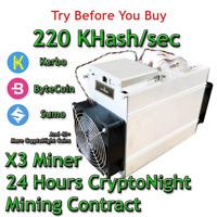 Bitmain Antminer X3 220 KHash/sec Guaranteed 24 Hours Mining Contract CryptoNote