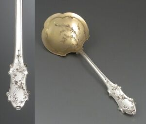 Antique French Sterling Silver & Vermeil Gold Washed Strawberry Spoon, Thistle