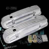 ALUMINUM 1959-79 PONTIAC 301-455 VALVE COVERS FINNED - POLISHED