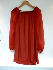 Lasdies Lovely Topshop Orange Over Hip Length Pleated Party Top Size 8, Vgc