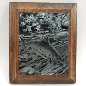 Wiley Miller Fish Metal Etching - Fishing and Game - Walleye Plaque Wall Hanging
