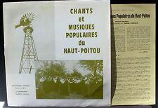 Chants et musiques populaires Haut-Poitou M.Valière La Marchoise LP NM, CV VG++
